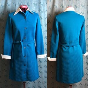Vintage 1960s shirt dress stylized cuffs